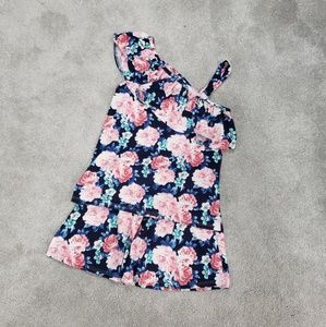 Other - Girls Floral Skirt and 1 Shoulder Tank Set